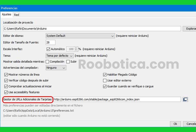 Gestor de URLs adicionales de tarjetas para el Wifi ESP8266 de arduino