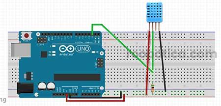 Esquema sensor DTH11 con arduino sin PCB