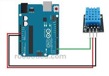 esquema arduino y pines sensor DHT11