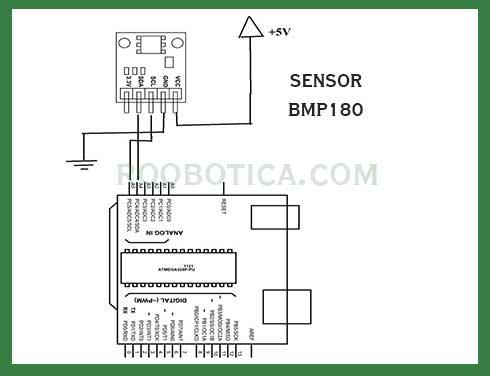 sensor bmp180 esquema electrónica